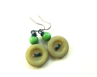 Green Earthy Vintage Button Earrings