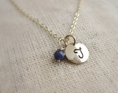 Tiny gold initial necklace with sapphire, September birthstone necklace, custom birthstone, Mothers necklace, gold letter, dainty monogram