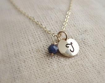 Cursive initial necklace w/ birthstone Dainty birthstone necklace Gold letter necklace Cursive font Gemstone necklace Gold initial necklace