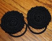 Crochet Flower Ponytails, Hair Accessories, Black