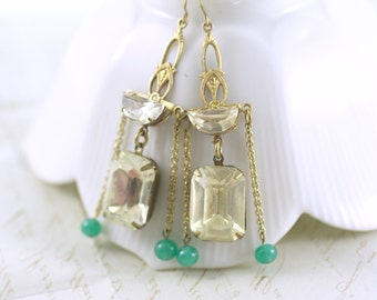 Art deco earrings crystal jade glass 1930's style bridal jewelry vintage style jewel brass green
