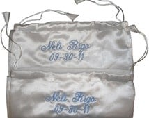 Personalized Satin Wedding Shoe and Accessory Ditty  Bags - Set of Two
