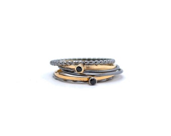 Rings with Bling, Black on Silver and Gold