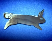 Made to Order Jumping Rabbit Sterling Silver Tie Clip