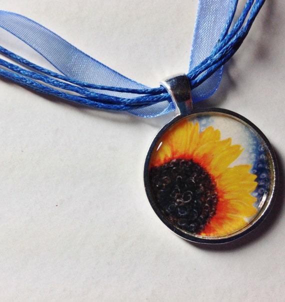 Sunflower Pendant - Polaroid Pendant - Photo Pendant