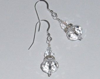 Swarovski Crystal Bridal Earrings Sterling Silver  Dangle Ready to ship