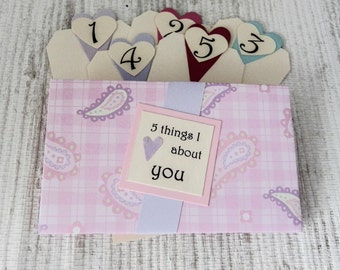 5 Things I Love About You Tag Book - Pink and Lavender Paisley