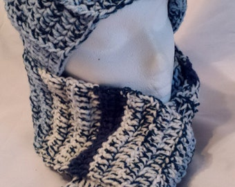 Women's Hat and Scarf Set, Wintery Blues