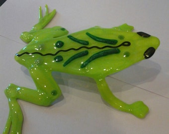 Green Glass Frog Sculpture