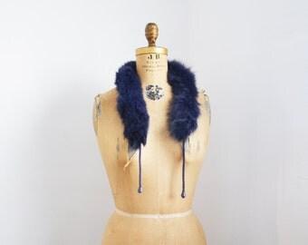 vintage plum fox fur scarf fur collar fur trim to add to a hood
