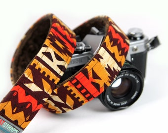 Southwestern Camera Strap - Boho, Indie, Painted Desert Strap with Minky