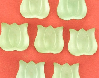 6 Vintage Green Frosted Glass Tulip Flower Cabochons