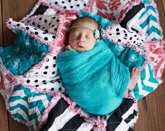 Designer Baby Rag Quilt Coral Turquoise & Black and White Boutique Crib Travelor Photo Prop Bedding MADE TO ORDER