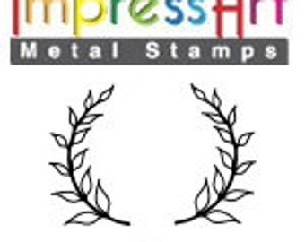Design Stamps - LAUREL WREATH - 2 stamps - Right and Left - 6mm stamped image by ImpressArt -  includes How to Stamp Metal tutorial
