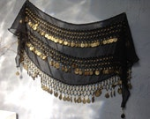 VINTAGE BELT...belly dancing ~ music dance ~ black gold coins ~ tribal craft ~ bohemian collection ~ boho design ~ ladies