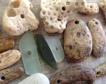 EARTHLY FINDS...17 beach treasure pendants - fossil - jewelry supplies- sea glass- rare-beige brown green white- natural history
