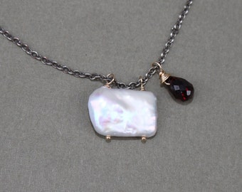 Square Pearl & Garnet Briolette Pendant on Sterling Silver Chain Mixed Metal Delicate Necklace