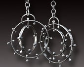 Hoop Earrings Sterling Silver Hoop Earrings Pinned Circles Sterling Silver KINETIC Dangling Earrings