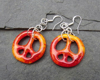 Red Orange Fused Glass Peace Signs Dangling Earrings