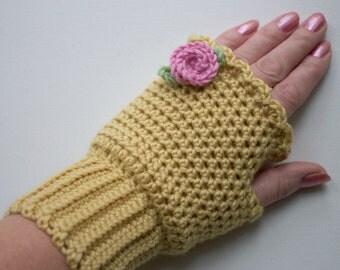 CROCHET PATTERN - Miss Read Mitts Pretty Rose Wrist Warmers