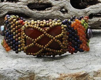 Jewelry - Free Form Peyote Stitch Beaded Bracelet  - Awake - Bead Weaving - Carnelian - DISCOUNTED