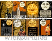 Man in the Moon Halloween ACEO Digital Collage Sheet Instant download