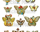 Alice In Wonderland with Wings Digital Collage Sheet Instant download