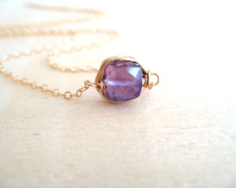Layering Necklace Solitaire Necklace Amethyst Choker Gift for her Vitrine Designs Stacking jewelry