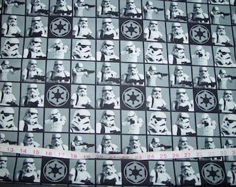 Star Wars Storm Trooper Squares Blocks Fabric - Generous 1 yard