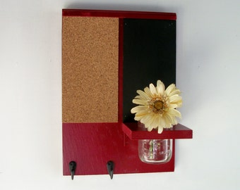 Cherry Red Wood Cork and Black Board Message Center