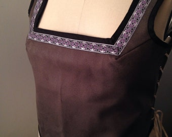 Renaissance Bodice in Grey Suede  Tapestry