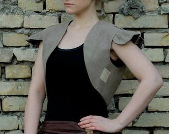 MASQ steampunk bolero victorian folk vest, ethnic tribal grey, sand, brown wings bolero vest. Size L - XL