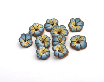 Light Blue Pansy Beads, Polymer Clay Garden Flower Beads, Johnny Jump Ups 10 Pieces