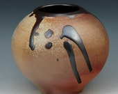 Wood fired porcelain Ikebana vessel pot vase  great flashing and a dark iron red glaze V15W