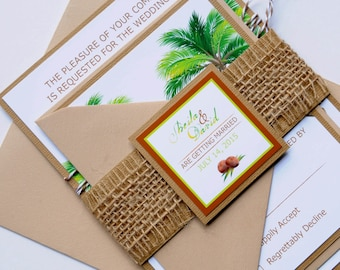 Natural Tropical Palm Tree Beach Destination Wedding Invitation and RSVP Suite