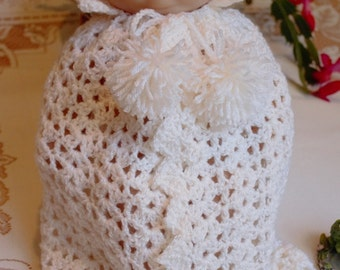 Crochet clothes outfit for 10 12 13 14 inch Baby Doll La Newborn Hooded Cape, blanket  Antique White