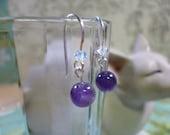 earrings little girl Amethyst and Swarovski Crystals
