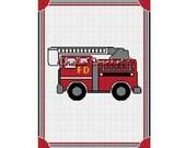 INSTANT DOWNLOAD Chella Crochet Fire Truck 150st Firefighter White Afghan Crochet Pattern Graph