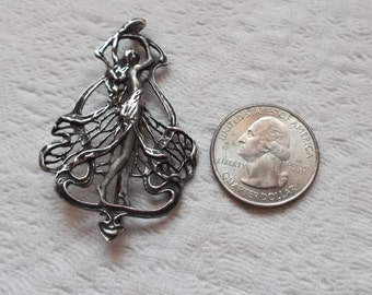 Vintage Art Nouveau Style Sterling Silver and Brushed Silver Standing Lady Brooch/Pin