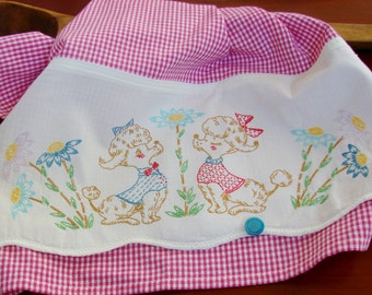 Pet Park Poodles Love at First Site Recycled Vintage Pillowcase to Upcycled Tea Towel Kitchen Decor Bows Dog Dogie Hot Pink Mini Check Cute