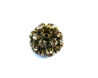 Antique vintage SWAROVSKI BEAD flower shape, metal flower with topaz shade crystals- RARE