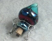 Blood In The Water --- Lampwork Poison Bottle Necklace