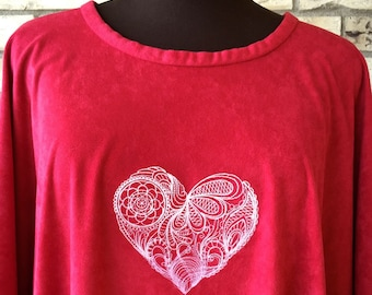 Plus Size Faux Suede Valentine's Day Caftan