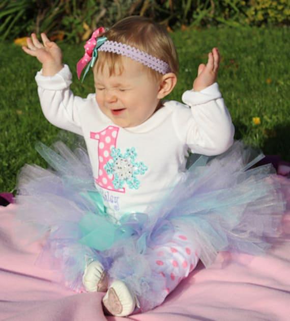 Baby Girl 1st Birthday Tutu Outfit Winter ONEderland Aqua
