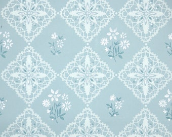 1940's Vintage Wallpaper - Blue and White Geometric with White Flowers