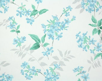 1940s Vintage Wallpaper - Floral Vintage Wallpaper with Aqua Blue Flowers on White