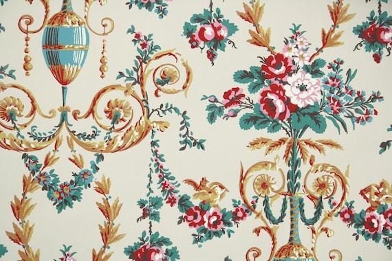 50er jahre vintage tapete floral tapete mit blumenstrauss. Black Bedroom Furniture Sets. Home Design Ideas