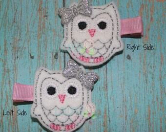 White and Silver Owl Felt Hair Clip ~ Felt Hair Clip ~ Hair Clip ~ Toddler Clips