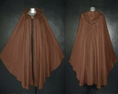Long Dark Brown GYPSY PRINCESS CAPE Medieval Gothic Peasant Hoody Cloak Plus Size 1x 2x 3x 4x 5x