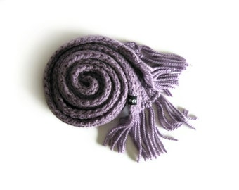 Knit Scarf in Lavender - Long with Fringes - Man - Woman
